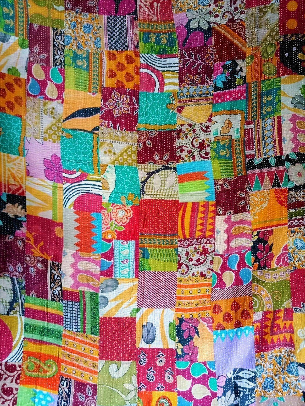 Indian Handmade Quilt Vintage Patchwork Kantha Bedspread Throw Cotton Blanket