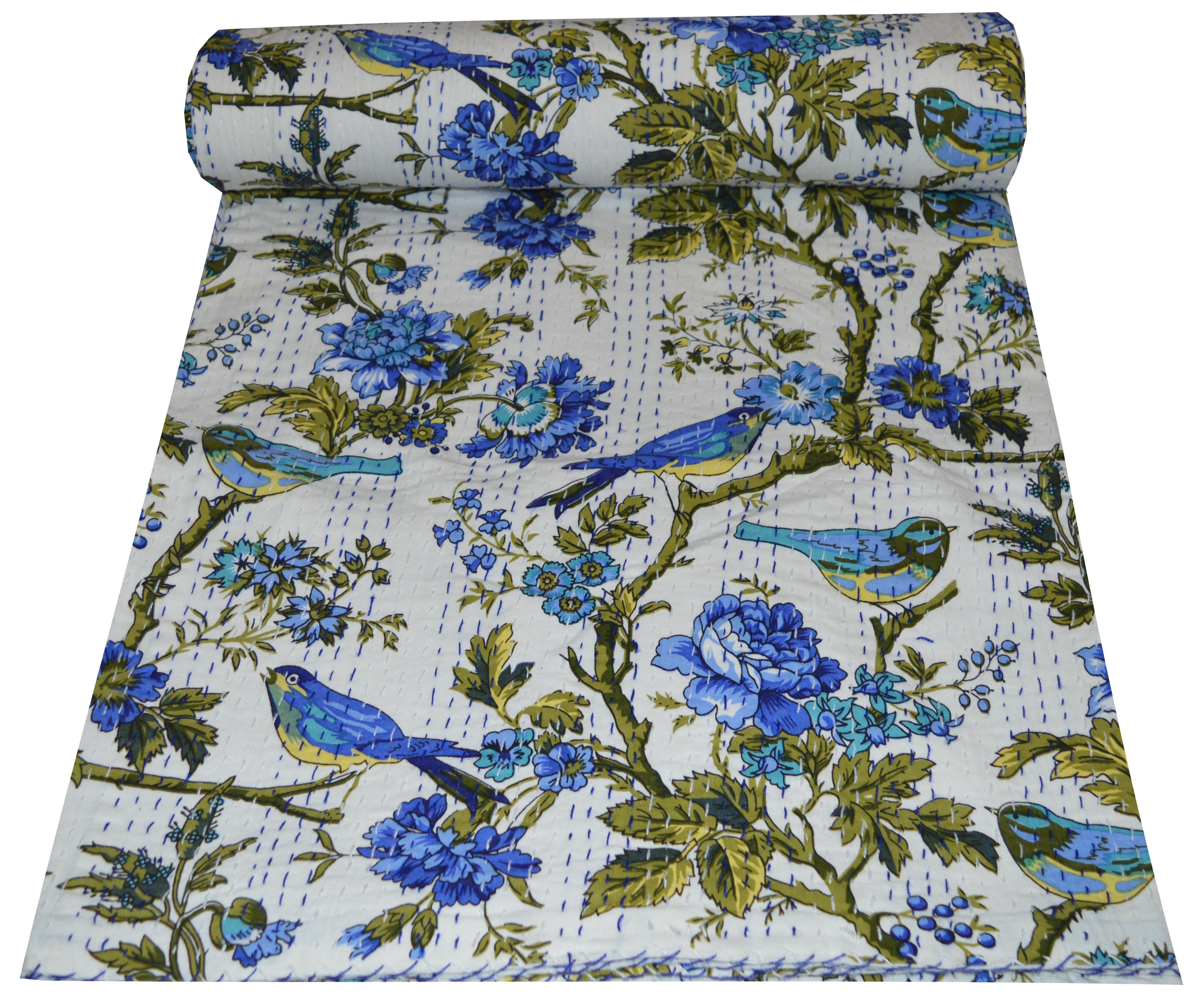 Cotton kantha Quilt blanket handmade Bedding Blanket Bird Print kantha quilt